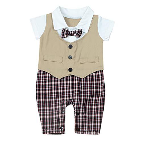 Infant Baby Clothes Toddler Baby Boys Gentleman Plaid Print Bowknot Short Sleeve Romper Jumpsuit (90, Khaki)]()