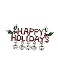 Lux Accessories Happy Holidays Mistletoe Jingle Bells Christmas Xmas Brooch Pin.