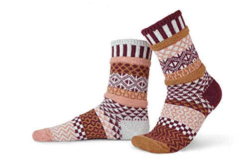 (Solmate Socks - Mismatched Crew Socks for Women or Men, Amaranth XL)