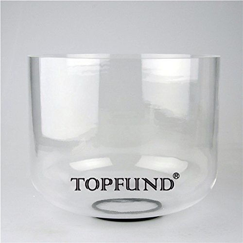 TOPFUND F# Note Thymus Chakra Clear Crystal Singing Bowl 9 inch O Ring and Suede Sticker Included the 4th Chakra Sound Healing Singing Bowls Meditation Yoga Enthusiasts and Sound Healer Tools [並行輸入品]   B07MB45ZML