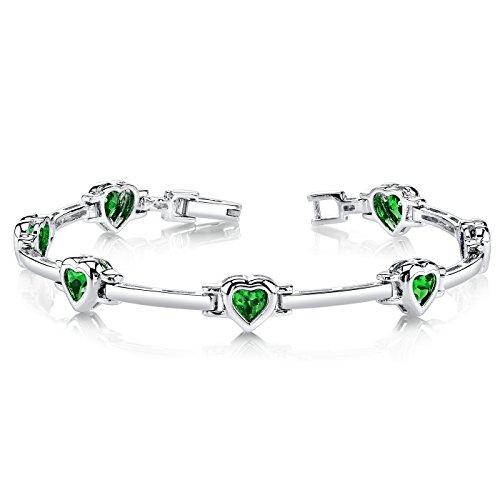 Simulated Emerald Bracelet Sterling Rhodium product image