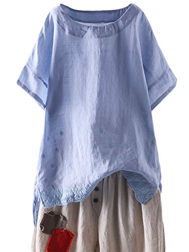 - Mordenmiss Women's Linen Embroidered Shirt Blouse Short Sleeve T-Shirt Tops Hi-Low Tunics(XL,Light Blue)