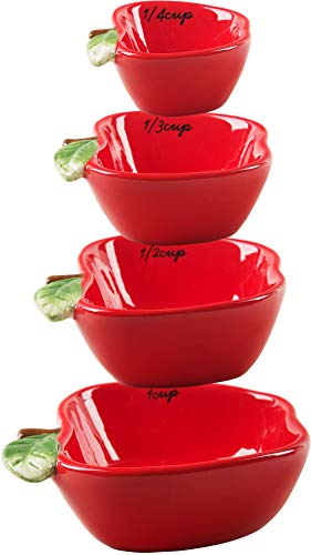 Ceramic Red Apple - Home Essentials Red Apple Shaped Ceramic Measuring Cups - S/4