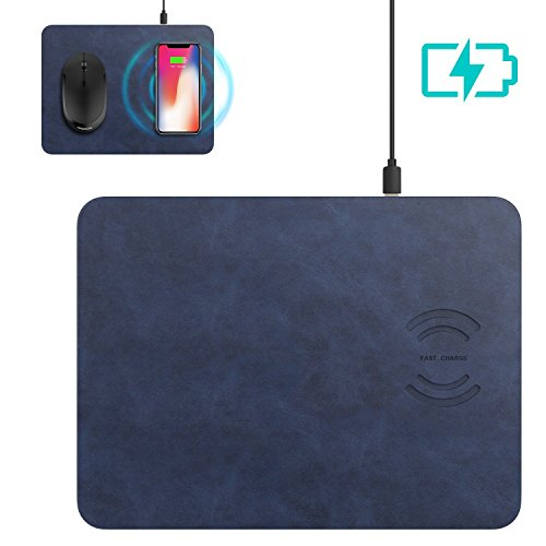 Dr. Prepare Wireless Charger Mouse Pad 2 in 1 Fast Charging Mat for iPhone X/8/8 Plus Samsung Galaxy Note 8/S8/S8 Plus/S7/S7 Edge/S6 Edge - Blue by Dr. Prepare