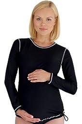 Mermaid Maternity Women\'s Maternity Long Sleeve Rash Guard Swim Shirt 2X