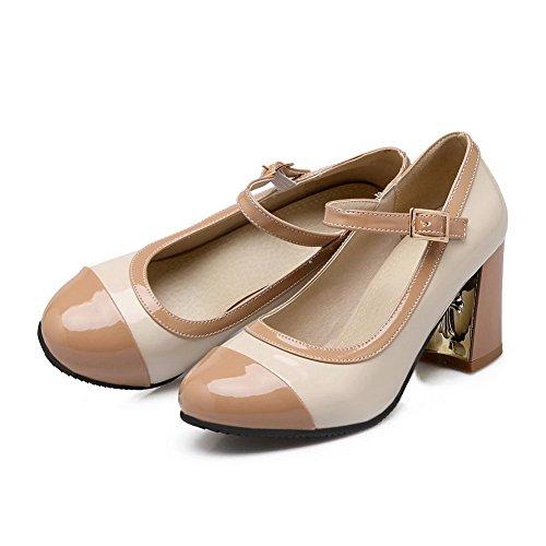 Balamasa Donna Tacco Grosso Tinta Coordinata Spessa Fibbia Sul Tallone Imitato Cuoio Pompe-scarpe Albicocca