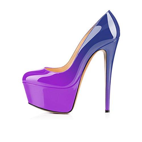 Fermé cm Talons Bout Escarpins Talon Aiguille Compensée Semelle 15CM elashe Violet Chaussures Bleu 5 Rond Plateformes Femmes TFnwxzOS