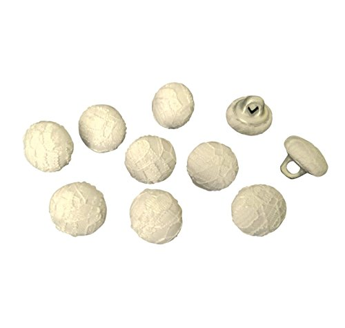 (Nakpunar Ivory Lace Bridal Buttons - Set of 10-7/16