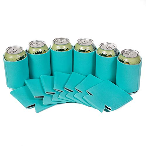 QualityPerfection 25 Robin's Egg Blue Party Drink Blank Can Coolers(12,25,50 Bulk Pack) Blank Beer,Soda Coolies Sleeves | Soft,Insulated Coolers | 30 Colors | Perfect For DIY -
