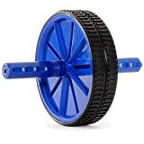 ProsourceFit Dual Ab Wheel Roller Abdominal Exercise Equipment with Comfortable, Easy Grip Handles, Blue