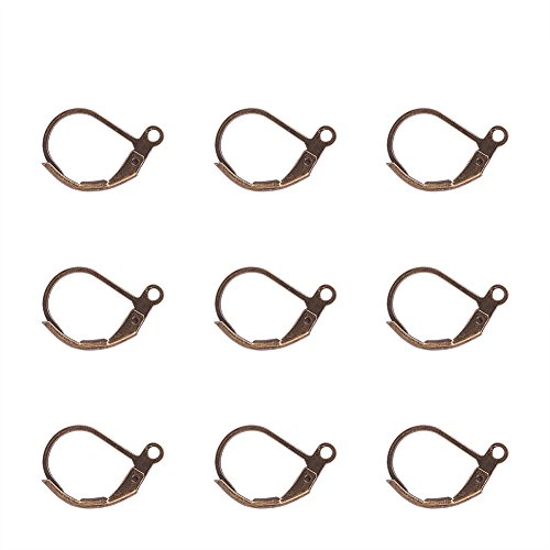 Pandahall 500PCS Antique Bronze Brass Lever Back Hoop Earrings Lead Free & Cadmium Free & Nickel Free,10x15mm