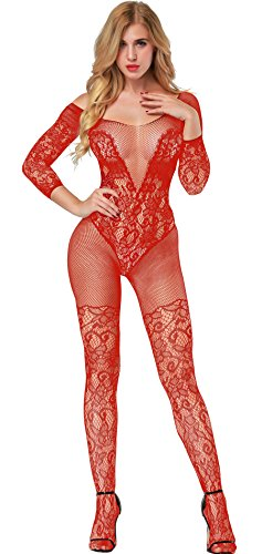 Red Bodystocking (Bodystockings Babydoll Lingerie Teddy Nightie Leotard Body Suit Stocking (Red))