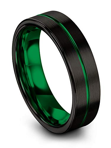 Chroma Color Collection Tungsten Carbide Wedding Band Ring 6mm for Men Women Green Interior with Green Center Line Flat Cut Brushed Polished Comfort Fit Anniversary Size 6 ()