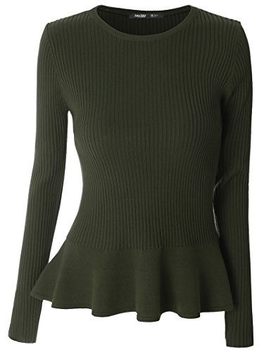 Mooncolour Women's Long Sleeve Knitted Fitted Peplum Tunic