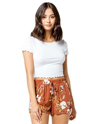 Lettuce Edge Shirt - Bozzolo Ribbed Lettuce Edge White Crop Tee, White, Large