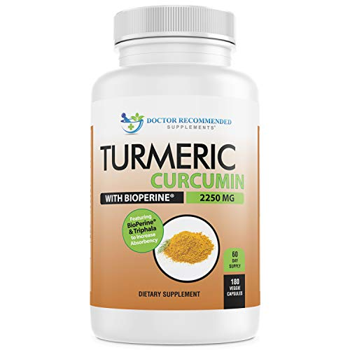 Turmeric Curcumin  2250mg/d  180 Veggie Caps  95% Curcuminoids with Black Pepper Extract Bioperine  750mg Capsules  100% Organic  Most Powerful Turmeric Supplement with Triphala