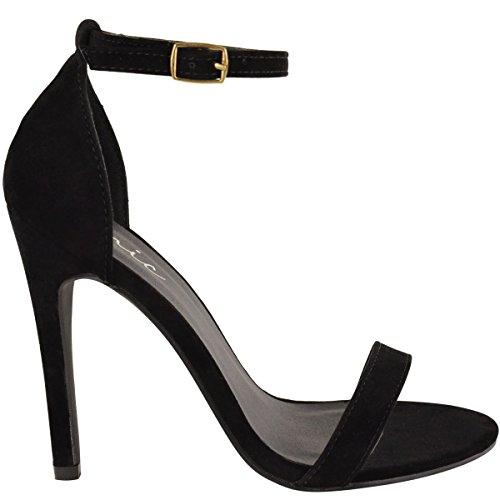 Mode Dorstige Dames Strappy Stiletto Hoge Hak Sandalen Enkelband Manchet Peep Toe Schoenmaat Zwart Faux Suede