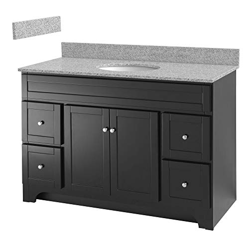 Foremost WREAT4821D-8M  Worthington 48-Inch Espresso Bathroom Vanity with Meteorite Gray Granite Top and White Vitreous China Sink
