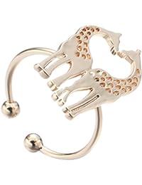 Adjustable Love Dainty Couple Giraffe Heart Animal Rings for Women Girls Birthday Gift