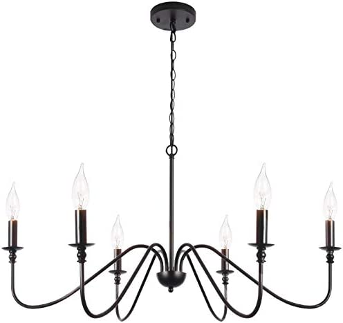 T A Black 6-Light Chandeliers,Classic Candle Ceiling Pendant Light Fixture,Wrought Iron Farmhouse Chandelier Kitchen Island Dining Room Living Room