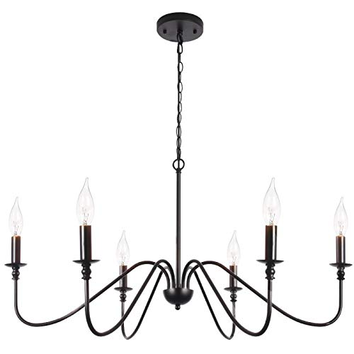 T&A Black 6-Light Chandeliers,Classic Candle Ceiling Pendant Light Fixture,Wrought Iron Farmhouse Chandelier Kitchen Island Dining Room Living Room