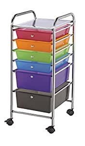 Blue Hills Studio SC6MC Storage Cart 6-Drawer (Standard and Deep) Multi-Colored