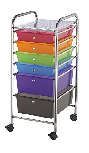 Blue Hills Studio SC6MC Storage Cart 6-Drawer (Standard and Deep) Multi-Colored by Blue Hills Studio