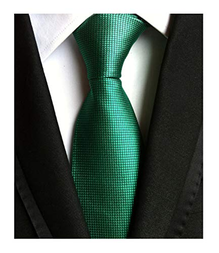 Men's Slim Dark Hunter Green Woven Polyester Ties Casual Party Wedding -