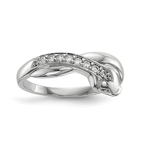 (925 Sterling Silver Cubic Zirconia Cz Snake Band Ring Size 8.00 Animal Fine Jewelry Gifts For Women For Her)