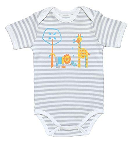 Under the Nile Baby Boy Lap Shoulder Bodysuit Size 6-9M Grey Stripe Organic Cotton with Bright Animals