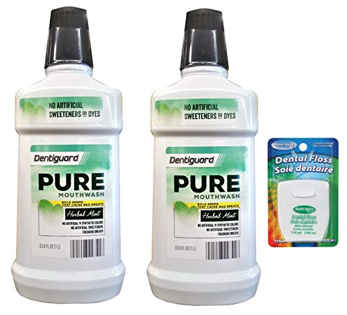 - DENTIGUARD Pure Mouthwash with Herbal Mint and NO ARTIFICIAL FLAVOR OR SYNTHETIC COLOR.- 33.8 FL OZ (Pack of 2) With BONUS Assured brand Floss