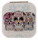 1pce Candy Skull Compact Mirror for Purse, Bag, Fold Up, Day of the Dead - Square White