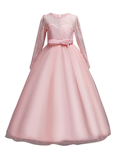 DOCHEER Fancy Girls Dress Tulle Lace Wedding Bridesmaid Ball Gown Floor Length Dresses for 4-14 Years (1022 Pink, 5-6 Years) ()