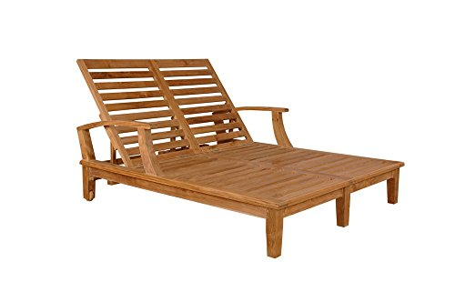Double Arm Chaise Lounge - Anderson Teak Brianna Double Sun Lounger with Arm & No Cushion