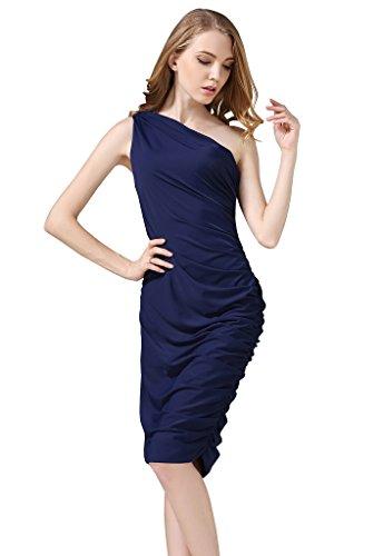 Buenos Ninos Women's Sleeveless Sexy One Shoulder Bodycon Midi Sheath Dress Navy L