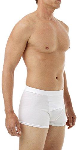 Underworks Cotton Spandex Ultra Light Compression Boxers Medium White