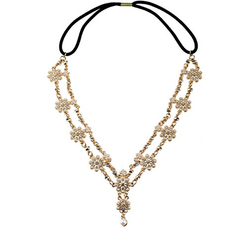 Adorable Woman Pearl Flower Tassel Stretchy Head Chain Headband Crystal Hair Chain (Gold Amethyst Estate Ring)