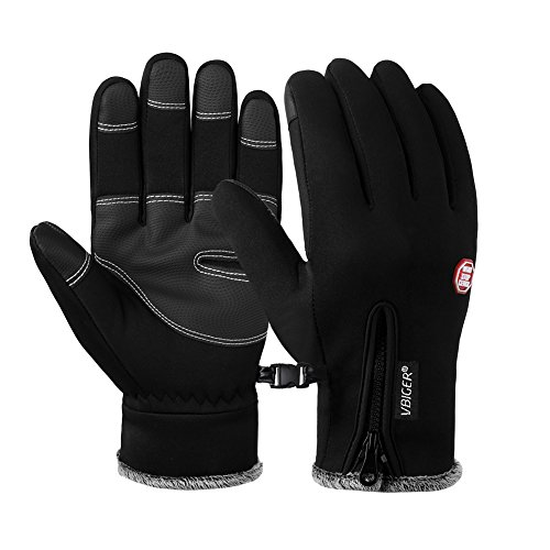 Vbiger Thick Warm Touch Screen Texting Gloves Cold Weather Gloves Cycling Gloves for Men & Women (New Black, (Tactical Cold Weather Gloves)