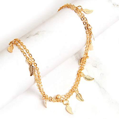 Yean Boho Layered Fußkettchen Blatt Knöchel Perle Fußkette Strand Fuß Schmuck für Frauen und Mädchen (gold)