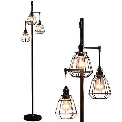 Modern Floor Lamp Black Industrial Tall Standing Floor Lighting with...