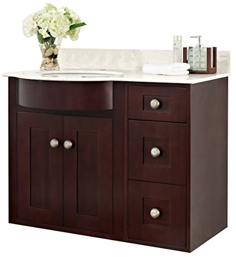 37.8-in. W Wall Mount Coffee Vanity Set For 1 Hole Drilling Beige Top White UM - Mount Beige Sink Wall