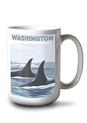 Lantern Press Orca Fins and Snow - Washington (15oz White Ceramic Mug) (Wht Fin)