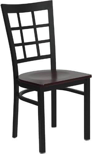 Offex Black Window Back Metal Restaurant Chair with Mahogany Wood Seat