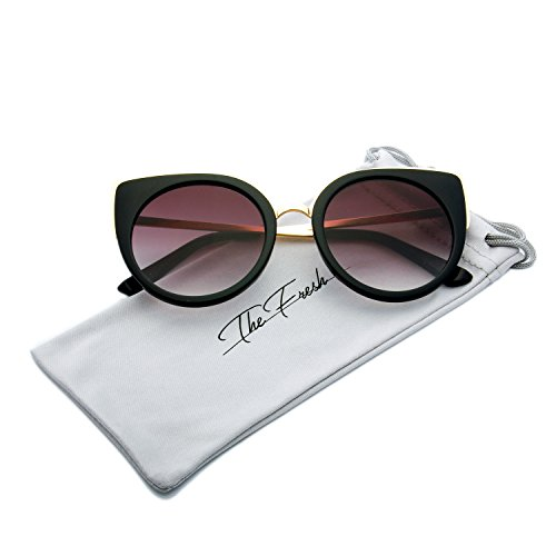 The Fresh Retro Fashion Cat Eye Frame Colored Flat Lens Metal Temples Sunglasses with Gift Box (Black, Gradient Grey)