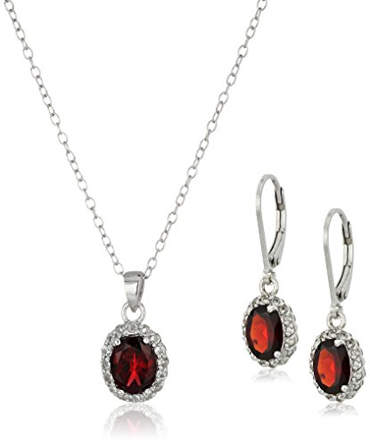 Sterling Silver Garnet Lever Back Earrings and Pendant Necklace Set