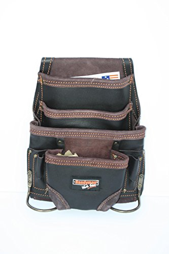 Oil Tanned Leather 10 pkt Carpenter  Electrician Tool Pouch Waist Bag with Steel Hammer Holder