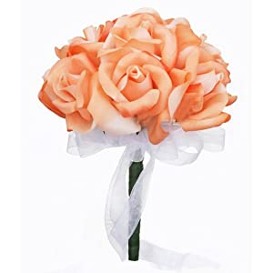 Peach Silk Rose Toss Bouquet - Bridal Wedding Bouquet 96