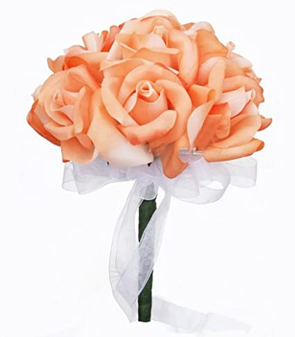 Amazon peach silk rose toss bouquet bridal wedding bouquet peach silk rose toss bouquet bridal wedding bouquet mightylinksfo