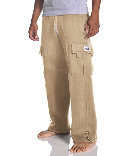 Pro Club Men's Heavyweight Fleece Cargo Sweatpant, Khaki, Medium