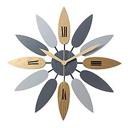 Haoun Unique Wall Clock Large Decorative Quiet Clocks no Ticking Noise Leave Shape Vintage Wood Clock 20 1/2 Inch
